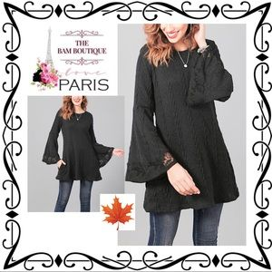 Black Cable-Knit Lace-Trim Bell-Sleeve Tunic
